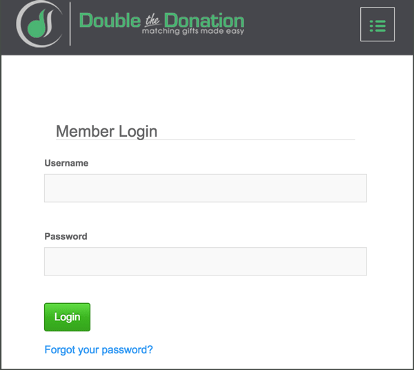 Log into your Double the Donation account.