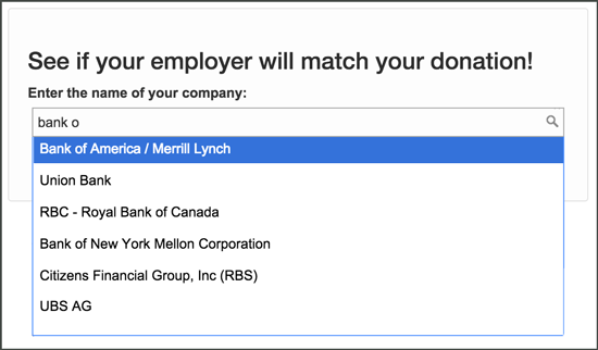 Find your employer's matching gift program.