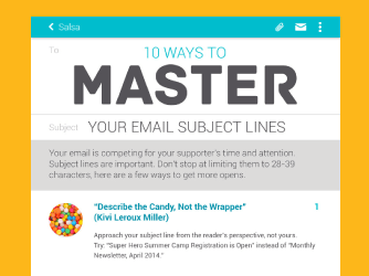 Learn 10 ways to master your email subject lines with Salsa.