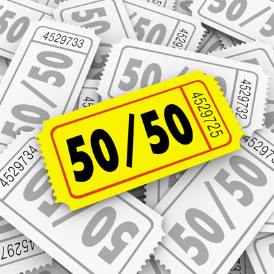 A 50/50 raffle is an easy and low-budget fundraiser that's sure to bring in plenty of profit.