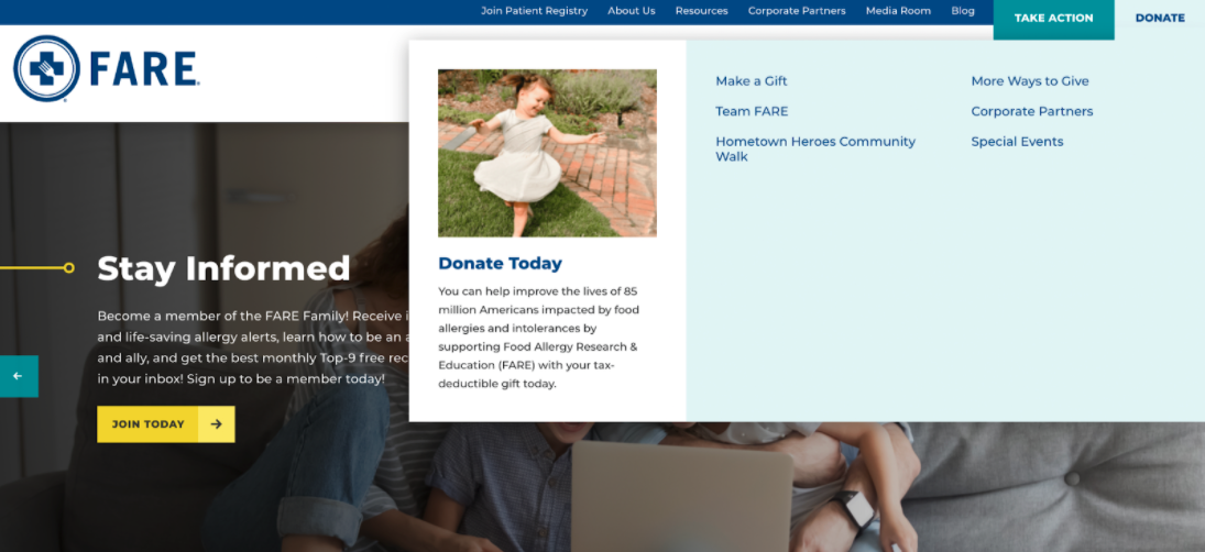 This example shows how you can feature your donation button in your navigation menu.