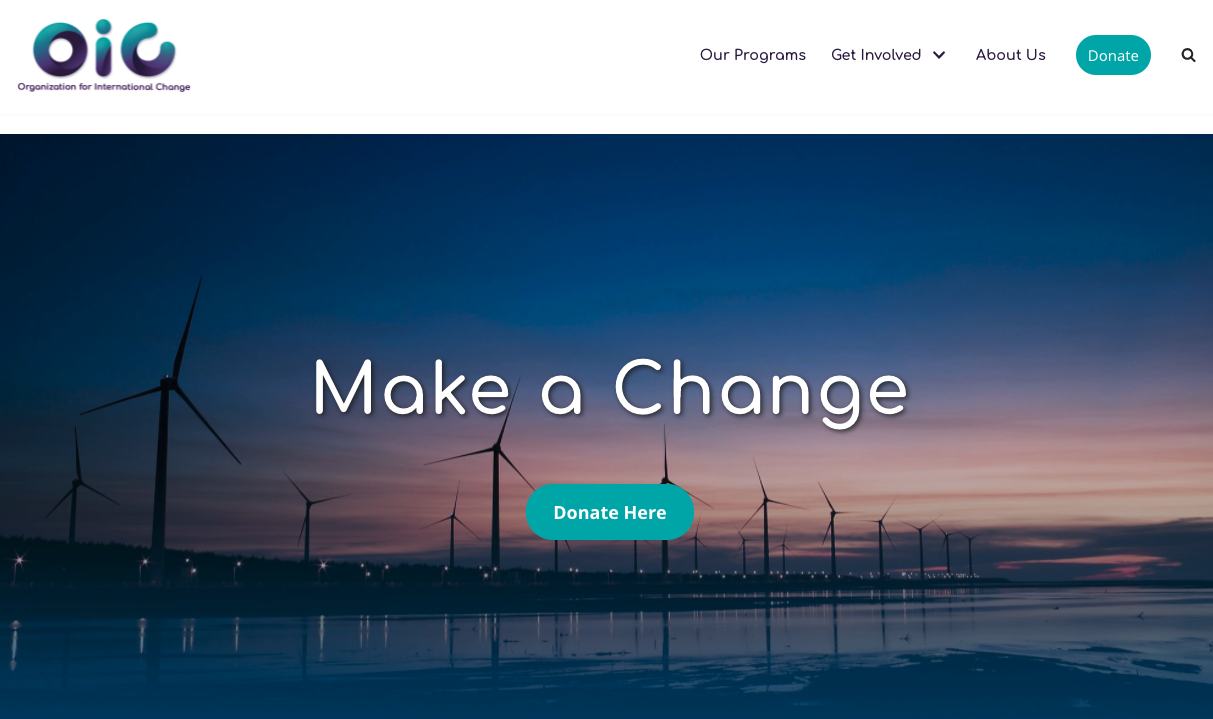 This donate button on the Organization for International Change is placed prominently in the menu.