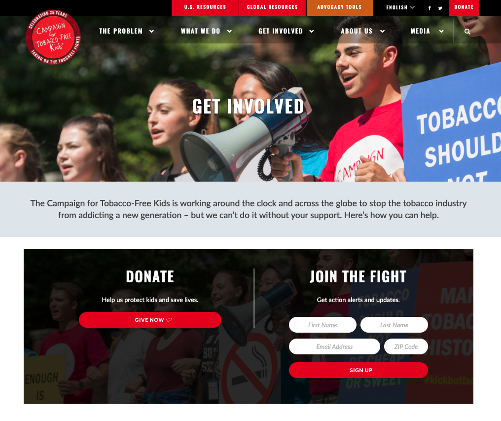 Place your donation button on your 'Get Involved' page to inspire people to give.
