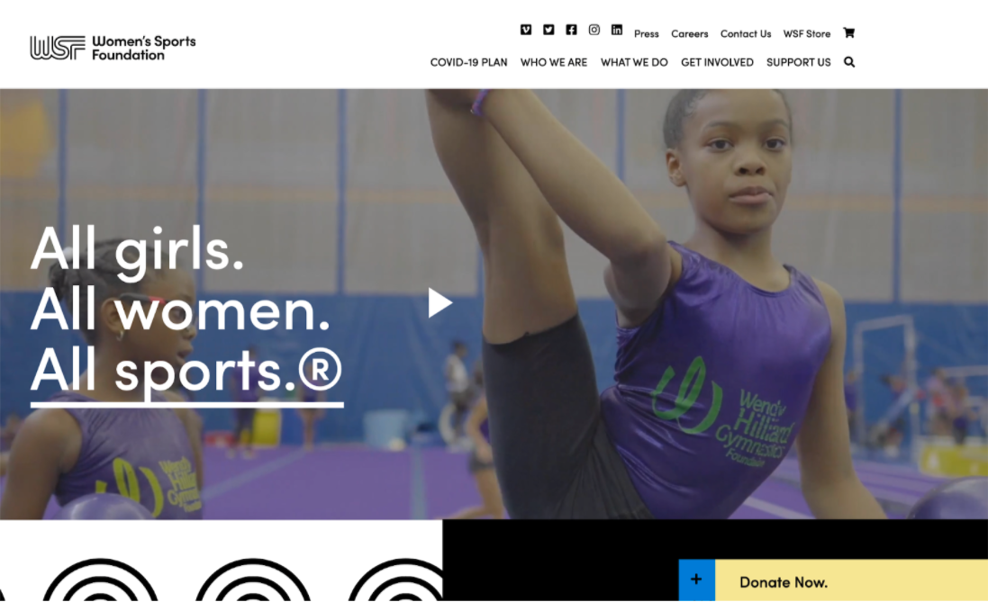The Women's Sports Foundation features a donation button that stays in the bottom corner of the user's window.