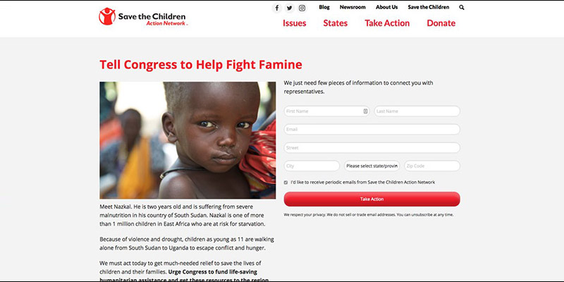 Save the Children's digital advocacy petition inspires supporters to take action.