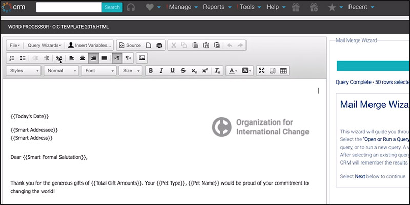 Create powerful direct mail messages with smart nonprofit CRM features like publication tools.