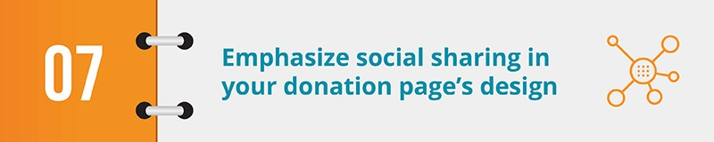 Emphasize social sharing in your donation page's design.