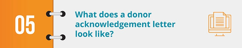What does a donor acknowledgement letter look like?