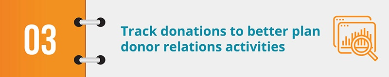 Track donations to better plan donor relations activities.