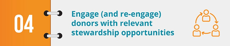 Engage (and re-engage) donors with relevant stewardship opportunities.