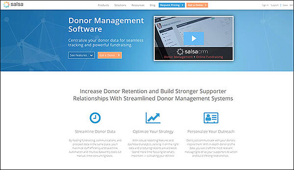 Salsa's donor software offers several great features.