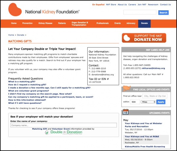 Nonprofits can insert Double the Donation's plugin into their matching gifts page.
