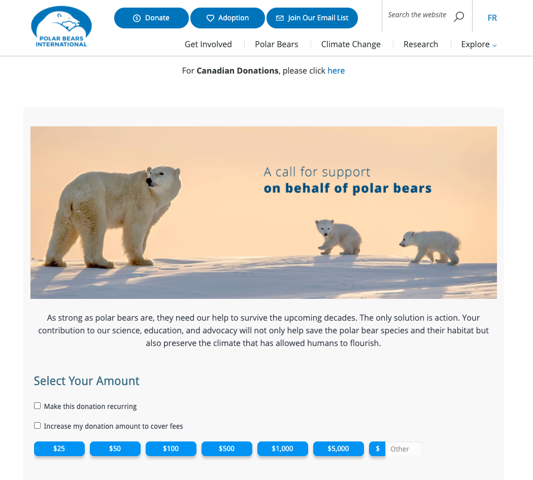 Guide to Nonprofit Websites - Donate 2 - Polar Bears