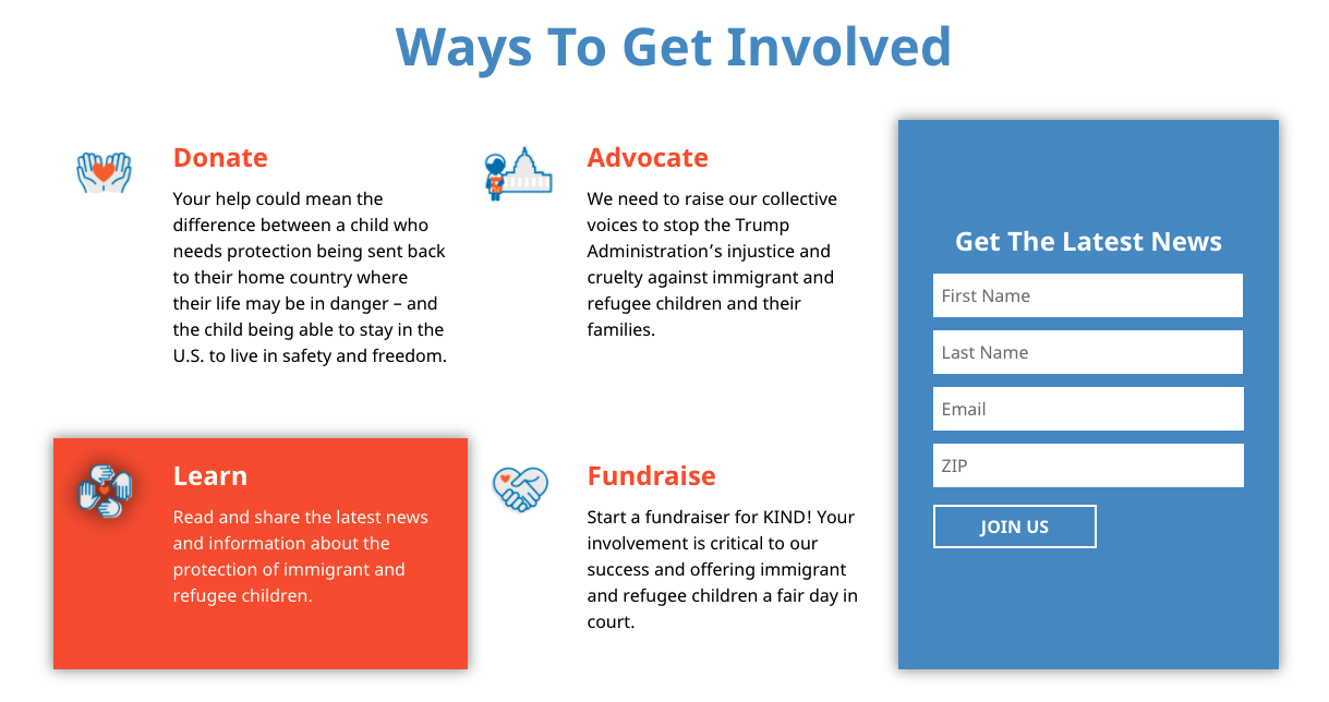 Guide to Nonprofit Websites - Homepage - KIND