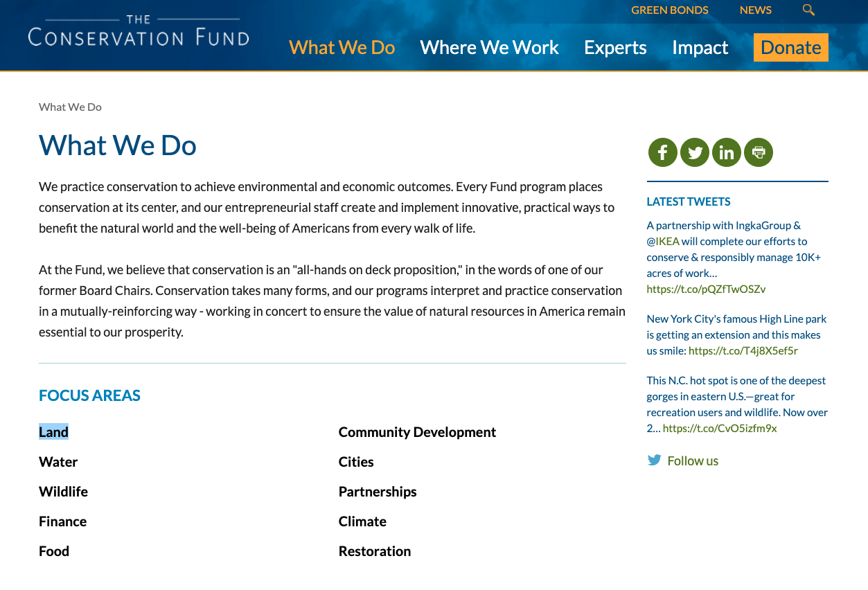 Guide to Nonprofit Websites - Impact - About Mission - Conservation Fund - Social Icons