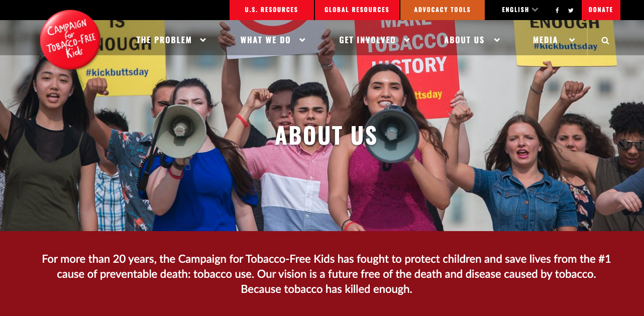 Guide to Nonprofit Websites - Impact - About Mission - Tobacco 2