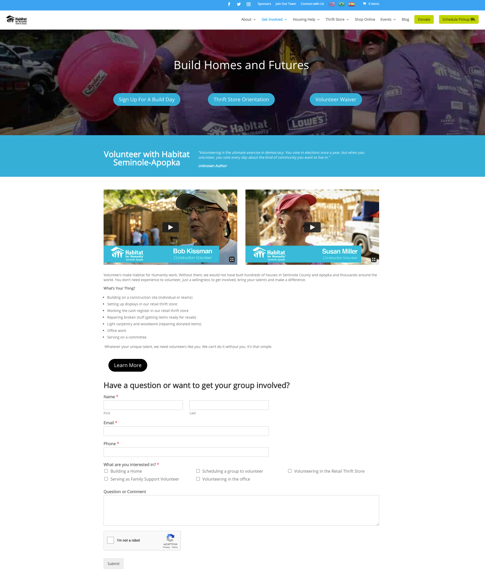 Guide to Nonprofit Websites - Volunteer - Habitat