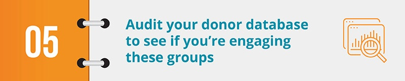 Audit your donor database to see if you're engaging these groups.