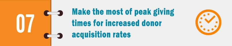 Make the most of peak giving times for increased donor acquisition rates.