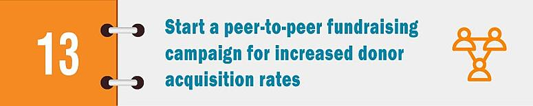 Start a peer-to-oeer fundraising campaign for increased donor acquisition rates.
