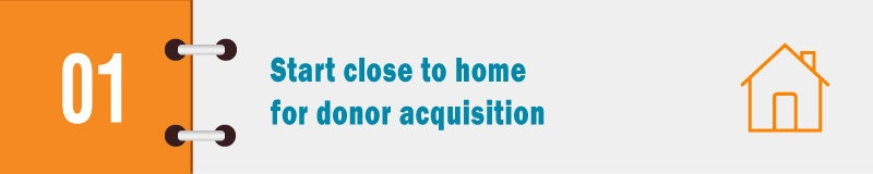 Start close to home for donor acquisition.