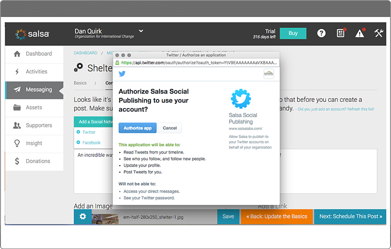 See how Salsa's solution can help your organization with donor aquisition through social media.