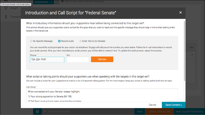 Create scripts in your grassroots advocacy software for your supporters to use when calling their legislators.