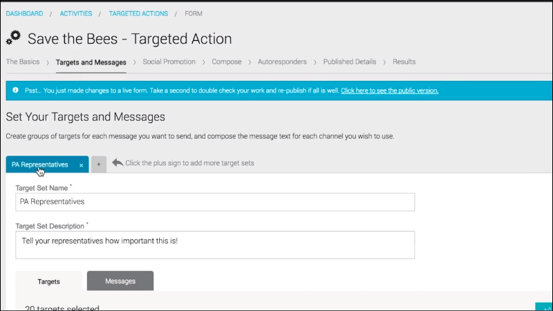 Create targeted messages with your grassroots advocacy software for your campaign.