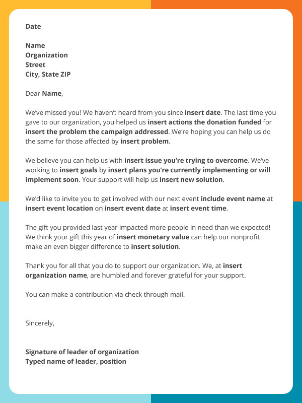 Check out this letter template for regaining lapsed donors.