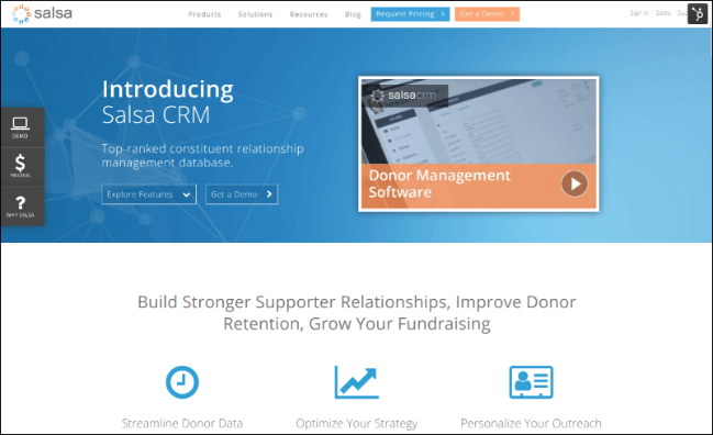 Check out Salsa CRM's online fundraising tool.