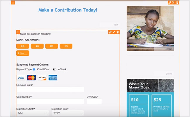 Add recurring gift and suggested donation buttons to your online fundraising form.
