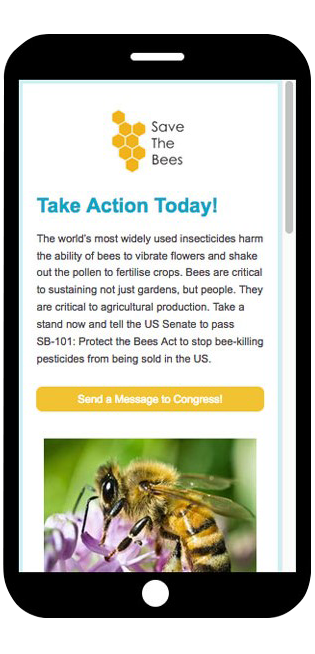 Look at how Save the Bees leverages an action-oriented button on their online petition form.