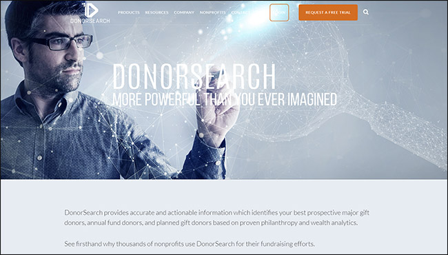 The best online fundraising platform for prospect research is DonorSearch.
