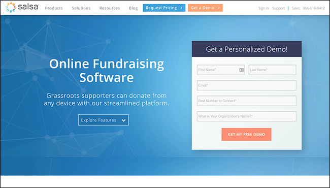 Salsa Engage is the best online fundraising platform out there.