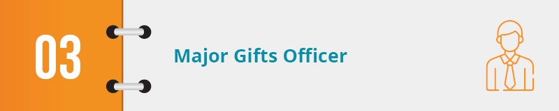 Your major gifts officer will help you effectively solicit major gifts.