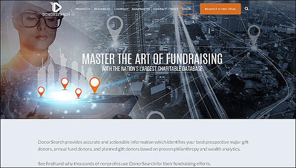 DonorSearch's homepage, the best nonprofit software for prospect research.
