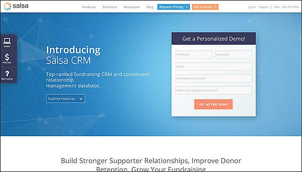 Salsa CRM is the best nonprofit software for donor management.