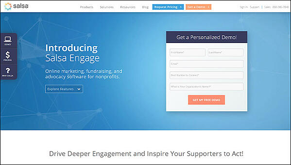 Salsa Engage as the best overall online fundraising software.