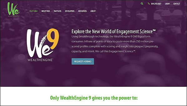 WealthEngine's Homepage, the best nonprofit software for wealth screening.