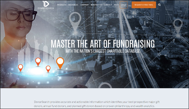 Check out DonorSearch's prospect research fundraising software.