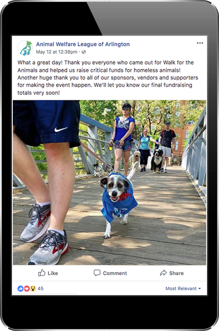 Animal Welfare League of Arlington Facebook Post