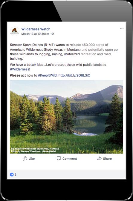 Wilderness Watch Facebook Post